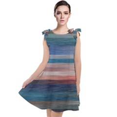 Background Horizontal Lines Tie Up Tunic Dress by HermanTelo