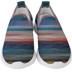 Background Horizontal Lines Kids  Slip On Sneakers by HermanTelo
