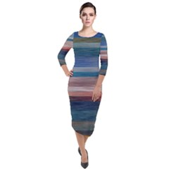 Background Horizontal Lines Quarter Sleeve Midi Velour Bodycon Dress by HermanTelo