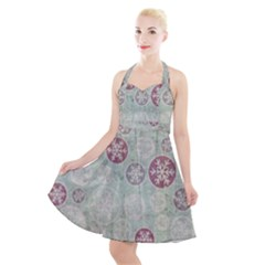 Background Christmas Vintage Old Halter Party Swing Dress  by HermanTelo
