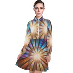 Background Spiral Abstract Long Sleeve Chiffon Shirt Dress by HermanTelo