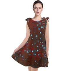 Background Star Christmas Tie Up Tunic Dress