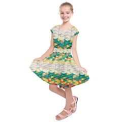 Background Triangle Kids  Short Sleeve Dress