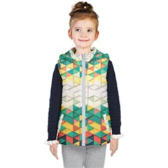 Background Triangle Kids  Hooded Puffer Vest by HermanTelo