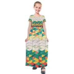 Background Triangle Kids  Short Sleeve Maxi Dress by HermanTelo
