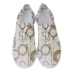 Background Watches Key Time Retro Women s Slip On Sneakers by HermanTelo