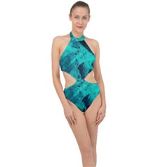 Background Texture Halter Side Cut Swimsuit