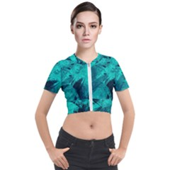 Background Texture Short Sleeve Cropped Jacket by HermanTelo