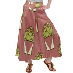 Cactus Pattern Background Texture Satin Palazzo Pants by HermanTelo