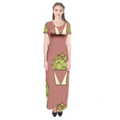 Cactus Pattern Background Texture Short Sleeve Maxi Dress by HermanTelo