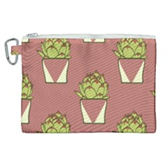 Cactus Pattern Background Texture Canvas Cosmetic Bag (xl) by HermanTelo