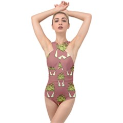 Cactus Pattern Background Texture Cross Front Low Back Swimsuit by HermanTelo