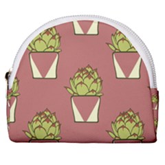 Cactus Pattern Background Texture Horseshoe Style Canvas Pouch