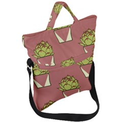 Cactus Pattern Background Texture Fold Over Handle Tote Bag by HermanTelo