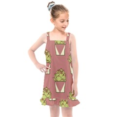 Cactus Pattern Background Texture Kids  Overall Dress by HermanTelo
