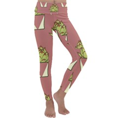 Cactus Pattern Background Texture Kids  Lightweight Velour Classic Yoga Leggings