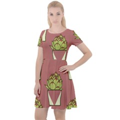 Cactus Pattern Background Texture Cap Sleeve Velour Dress  by HermanTelo