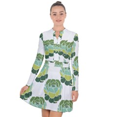 Cactus Pattern Long Sleeve Panel Dress