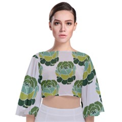Cactus Pattern Tie Back Butterfly Sleeve Chiffon Top