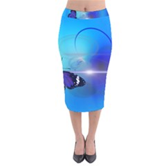 Butterfly Animal Insect Velvet Midi Pencil Skirt