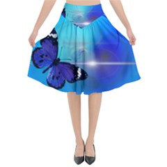 Butterfly Animal Insect Flared Midi Skirt by HermanTelo