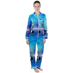 Butterfly Animal Insect Satin Long Sleeve Pyjamas Set