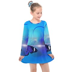 Butterfly Animal Insect Kids  Long Sleeve Dress by HermanTelo