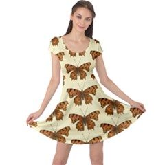 Butterflies Insects Pattern Cap Sleeve Dress