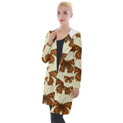 Butterflies Insects Pattern Hooded Pocket Cardigan