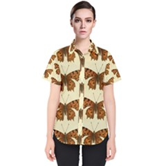 Butterflies Insects Pattern Women s Short Sleeve Shirt by HermanTelo
