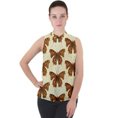 Butterflies Insects Pattern Mock Neck Chiffon Sleeveless Top by HermanTelo