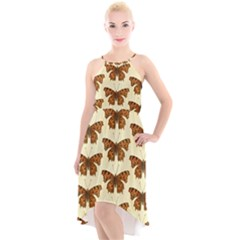 Butterflies Insects Pattern High Low Halter Chiffon Dress
