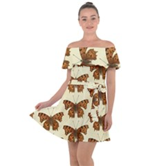 Butterflies Insects Pattern Off Shoulder Velour Dress by HermanTelo