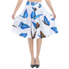 Butterfly Unique Background Flared Midi Skirt by HermanTelo