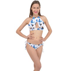 Butterfly Unique Background Cross Front Halter Bikini Set