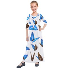 Butterfly Unique Background Kids  Quarter Sleeve Maxi Dress