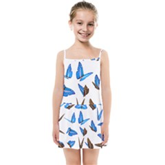Butterfly Unique Background Kids  Summer Sun Dress by HermanTelo