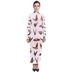 Butterflies Insect Swarm Turtleneck Maxi Dress by HermanTelo