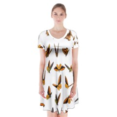 Butterflies Insect Swarm Short Sleeve V Neck Flare Dress by HermanTelo