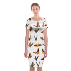 Butterflies Insect Swarm Classic Short Sleeve Midi Dress