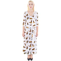 Butterflies Insect Swarm Quarter Sleeve Wrap Maxi Dress