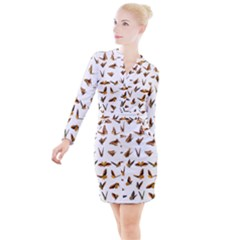 Butterflies Insect Swarm Button Long Sleeve Dress