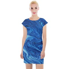 Blue Pattern Texture Art Cap Sleeve Bodycon Dress