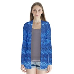Blue Pattern Texture Art Drape Collar Cardigan