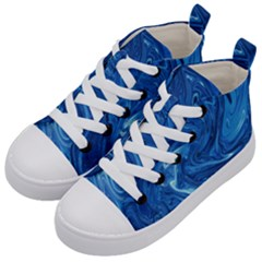 Blue Pattern Texture Art Kids  Mid-top Canvas Sneakers by HermanTelo