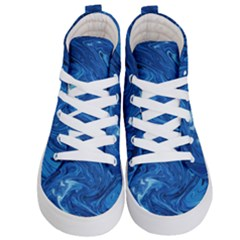 Blue Pattern Texture Art Kids  Hi Top Skate Sneakers