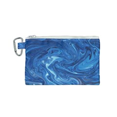 Blue Pattern Texture Art Canvas Cosmetic Bag (small)