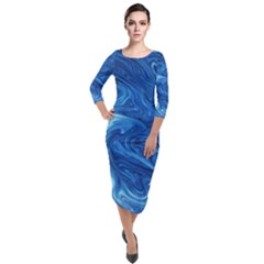 Blue Pattern Texture Art Quarter Sleeve Midi Velour Bodycon Dress by HermanTelo