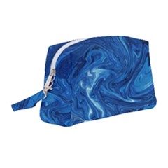 Blue Pattern Texture Art Wristlet Pouch Bag (medium)