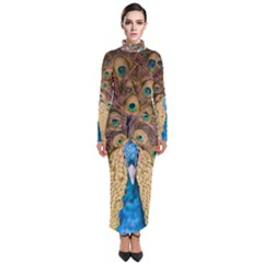 Bird Peacock Feather Turtleneck Maxi Dress by HermanTelo